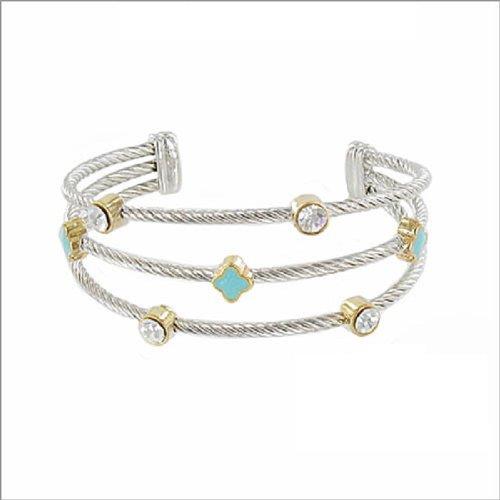 JOA Three Line Designer Texture Cuff Bracelet #039641