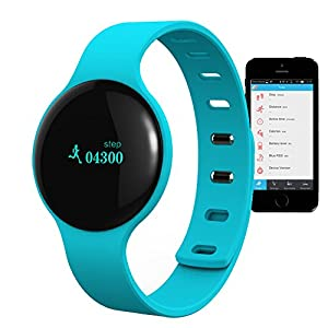 CIYOYO S1 Smart watch Bluetooth Low Energy 4.0 Smart Bracelet Pedometer with Tracking Steps,Distance,Calories/Anti-Lost,Call Reminder,Messages Reminder for iOS iPhone 5s/5c/6 Android phone Samsung Note2/3/4 S3/S4/S5 HTC(Blue)