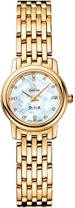 Omega DeVille Prestige Mother of Pearl Diamond Dial 18kt Yellow Gold Ladies Watch 4170.76