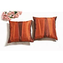 Shahenaz Home Shop Kyrah Zip Zap Zoom Poly Dupion Cushion Cover - Orange And Rust
