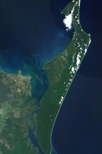 Fraser Island from Space, Australia: Blank 150 page lined journal for your thoughts, ideas, and inspiration