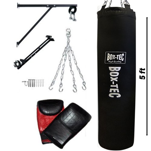 5Ft Filled Heavy Duty Punch Bag Rex Leather 40-45kg Set
