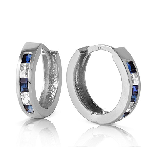 126-Carat-14K-Solid-White-Gold-Hoop-Earrings-Natural-Sapphire-White-Topaz