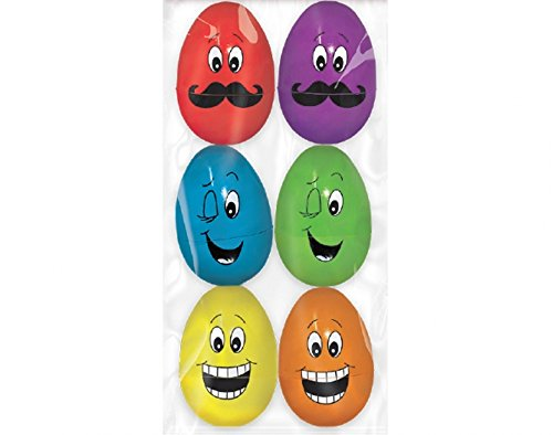 "Amscam Funny Face Plastic Large Eggs, 3"", Multicolor"