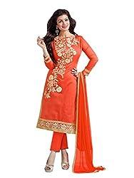 Orange colour embroidered chanderi fabric semi stich churidar dress material
