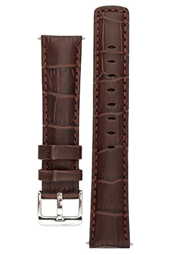 Signature Freedom Coffee 24 mm extra-long watch band. Replacement watch strap. Genuine leather. Silver Buckle (12mm Extra Long Watch Strap compare prices)