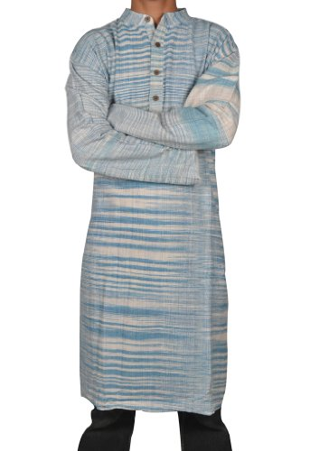 Traditional Handmade Casual Wear Indian Khadi Mens Long Kurta Fabric For Winter & Summers Size 4XL
