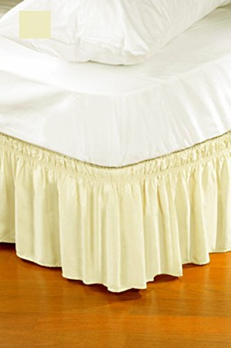 beige queen king size wrap around style easy fit elastic ruffle bed skirt ebay. Black Bedroom Furniture Sets. Home Design Ideas