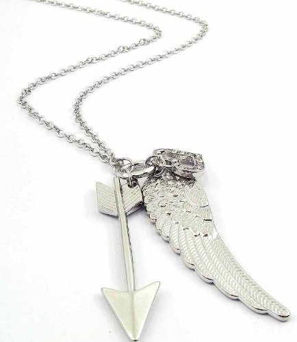 Angel Heart Long Silver Necklace