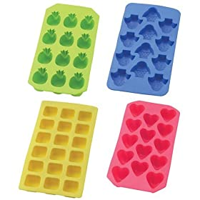 HIC Brands that Cook Assorted Flexible Non Stick Ice Cube Trays - Set of 4