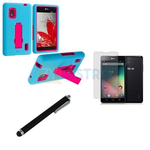 Case+Film+Stylus, Hard Plastic Snap On Cover Fits Lg E970 Optimus G Baby Blue/Hot Pink Symbiosis Stand + Lcd Screen Protective Film + Stylus/Pen At&T (Please Carefully Check Your Device Model To Order The Correct Version.) front-810656