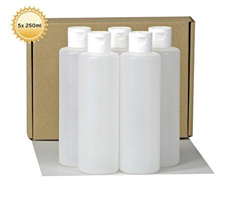 5-x-250-ml-Kunststoffflaschen-rund-mit-weissem-Klappverschluss-Plastikflaschen-mit-Klappspritzverschluss-Leerflaschen-aus-HDPE-mit-Scharnierverschluss-inkl-5-Beschriftungsetiketten