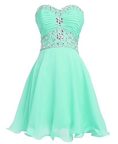Fashion Plaza Short Chiffon Strapless Crystal Homecoming Dress D0263 (Us4, Light Green)