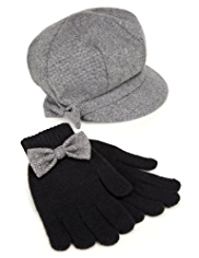 Baker Boy Bow Hat & Gloves Set