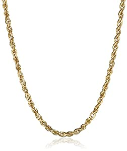 Duragold Men's 14k Yellow Gold Solid Diamond-Cut Rope Chain Necklace (2.5mm), 24