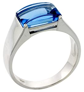 mens sterling silver blue topaz cubic zirconia ring cabochon sizes 8 to 13