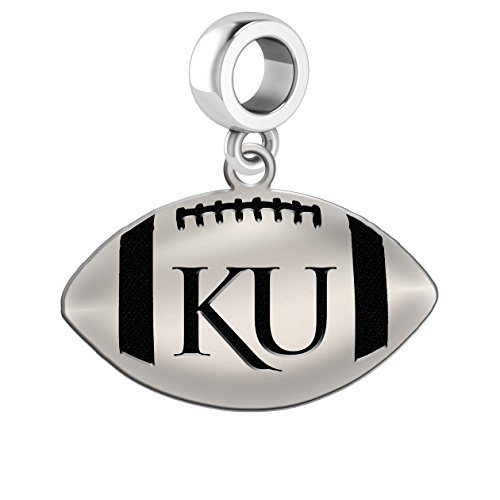 Kansas Jayhawks Sterling Silver Football Cut Out Drop Charm Fits All European Style Charm Bracelets