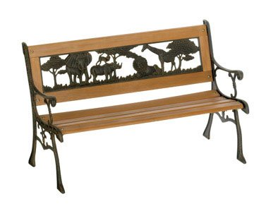 DC America SL-RH-170-BR Kiddie Resin Back Bench, Jungle
