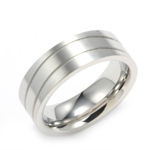 Polished Stainless Steel Lady Wedding Band Ring With Curved Lines in Center