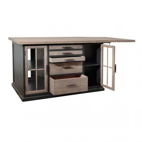 Ilot central cuisine contemporain chic andine 155x100x95 - Cote table meubles ...