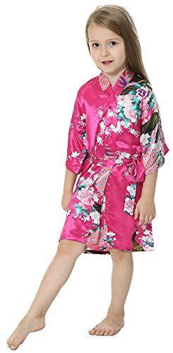 Joytton Girls' Satin Kimono Robe For Spa Party Wedding Birthday (8,Fuchsia)