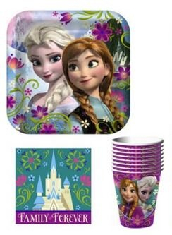 Disney Frozen Party Supply Pack ~ Plates, Napkins, Cups And Tablecloth