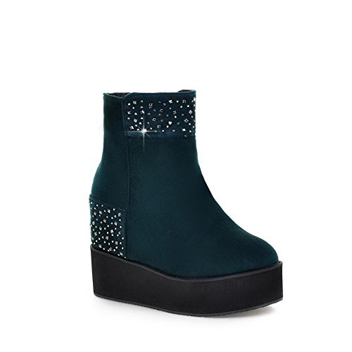 Voguezone009 Womens Closed Round Toe Kitten Heel Frosted Pu Short Plush Solid Boots With Glass Diamond, Darkgreen, 39