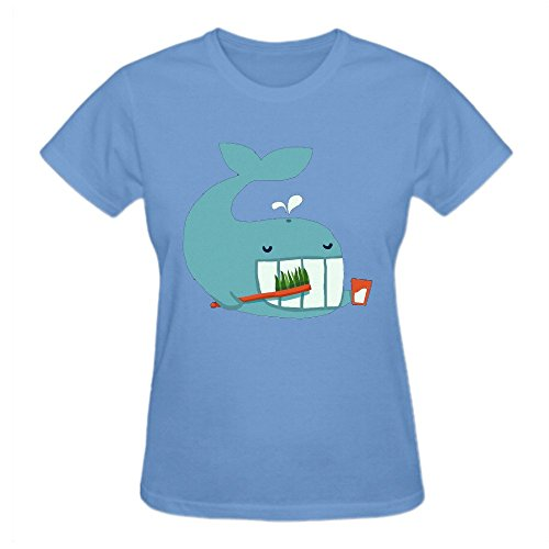 Latoca Brush Your Teeth 100% Cotton Vintage T-Shirts For Women O Neck Blue (Seal Dragon Hunger Hell Dragon compare prices)