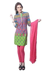 Saving Tree Multicolor Cotton A Line Suit With Matching Contrast Legging And Dupatta - B00QIEJ3DC