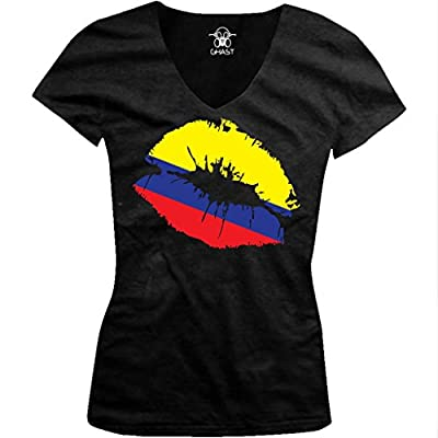 Colombia Flag Lips, Colombian Kiss Ladies Junior Fit V-neck T-shirt (Black, Medium)