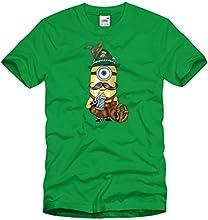 style3 Bavarian Minion Herren T-Shirt Wiesn Minion aus Bayern, Größe:XL;Farbe:Grün