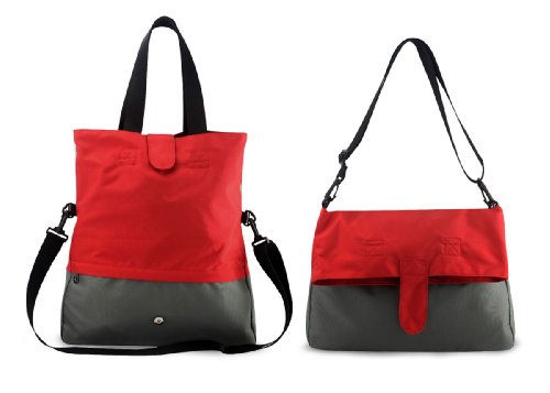 Beebaba Foldover Tote Diaper Bag with Insulated Bottle Holder, Eco-friendly Series (Red - Gray)