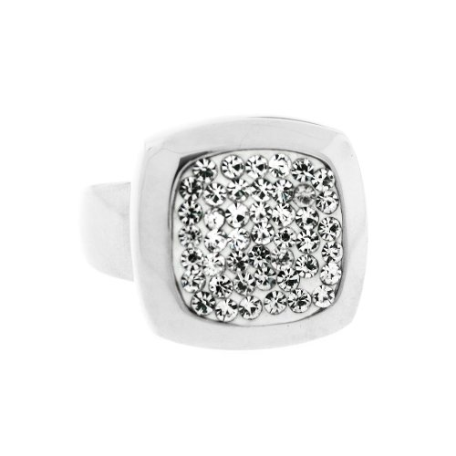 Ladies Stainless Steel Silver Tone White Crystal Square Ring