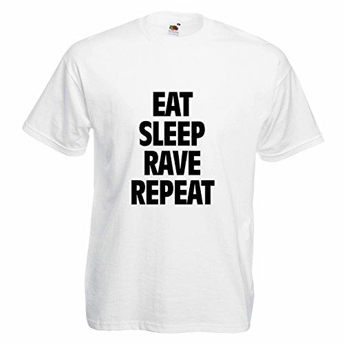 """T-shirt Uomo """"Eat Sleep Rave Repeat"""" - Maglietta techno elettronica 100% cotone LaMAGLIERIA,M, Bianco"""