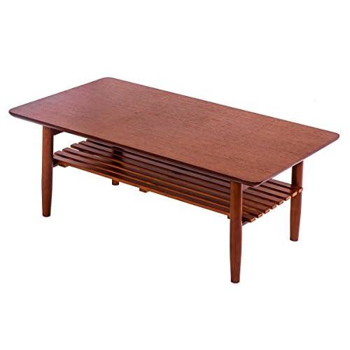 (OSJ)センターテーブル ローテーブル コーヒーテーブル 天然木 北欧 棚付き折り畳みテーブル 完成品(ブラウン)