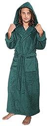Arus Men's Hood'n Full Ankle Length Hooded Turkish Cotton Bathrobe L Hunter Green