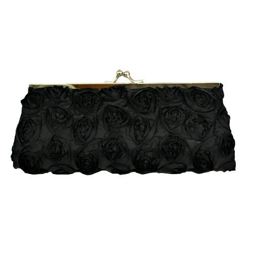 Black Small Twistlock Evening Bag Adorned With Rosettes And Chain Strap