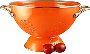 Calypso Basics 1.5 Quart powder coated  Colander, Orange