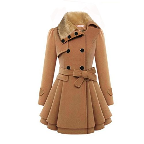 ZX Fashion camel woolen coats for women