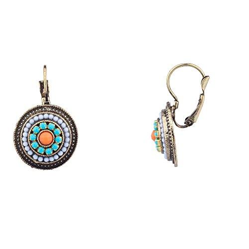 Lux accessori tribali Southwestern Orecchini pendenti con perline in pietra turchese