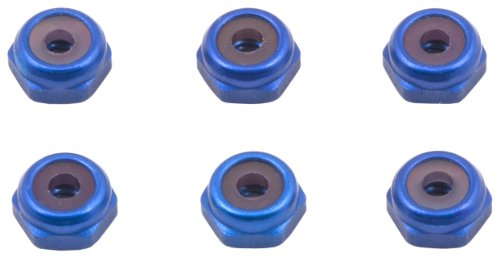Team Associated 6937 4-40 Aluminum Locknut, Blue, 6-Piece