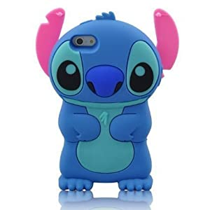 iPhone 6 Plus 6S Plus Case, Anya 3D Cute Bow Superhero Series Style Cartoon Soft Rubber Silicone Back Shell Case Cover Skin for Apple Iphone 6 6S Plus 5.5 inch Lilo Stitch Movable Ear Flip Blue at Gotham City Store