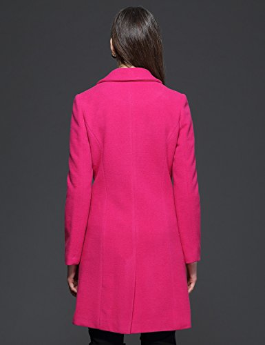 Maxchic Women's Notch Collar Double-breasted Wool-blend Coat with Flap Pockets D13572Y14M,Rosy,Mediu..