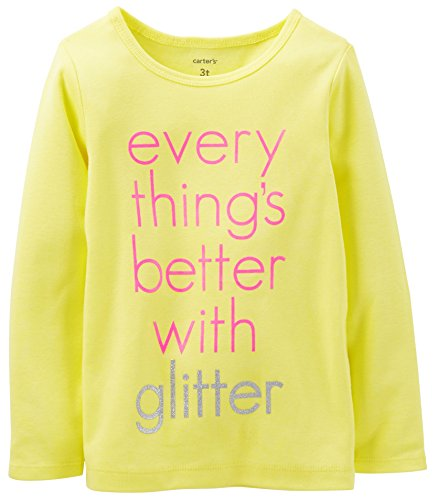 Carters Girls Toddler Better With Glitter Top 4T Yellow front-1007237