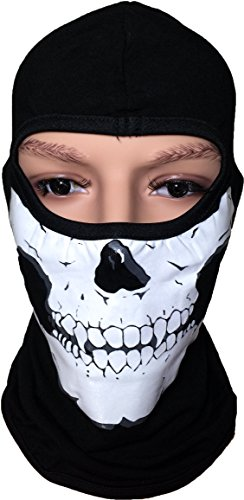 Full-Face-Cover-Balaclava-Skull-Print-Fleece-Devil-Protecting-Plain-Mask-Black