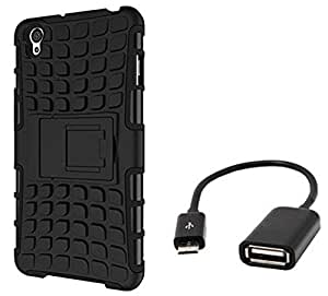 Tidel Hybrid Military Grade Armor Kick Stand Back Cover Case for OnePlus X (Black) With Micro OTG Cable
