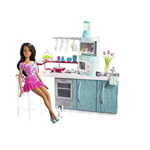 Barbie kitchen doll kitchen gift set for Doll kitchen set