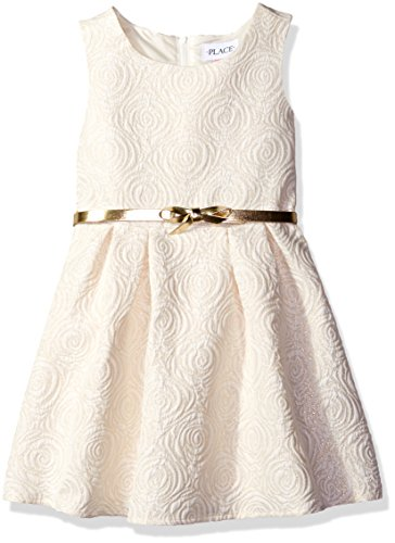 The Children's Place Big Girls' Strapless Jacquard Dress, White, 8