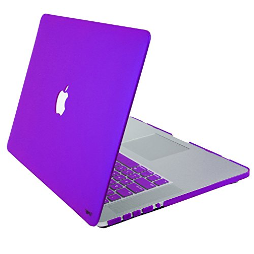 "Heartly Premium MacBook Flip Thin Hard Shell Rugged Armor Bumper Combo Back Case Cover + Keyboard Cover + Dust Ports For MacBook Pro 15"" inch Frame Purple"