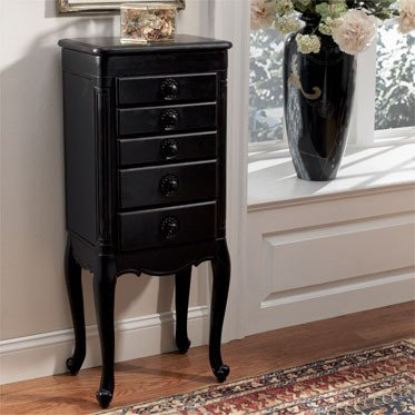 Powell Furniture Hills of Provence Jewelry Armoire in Distressed Antique Black